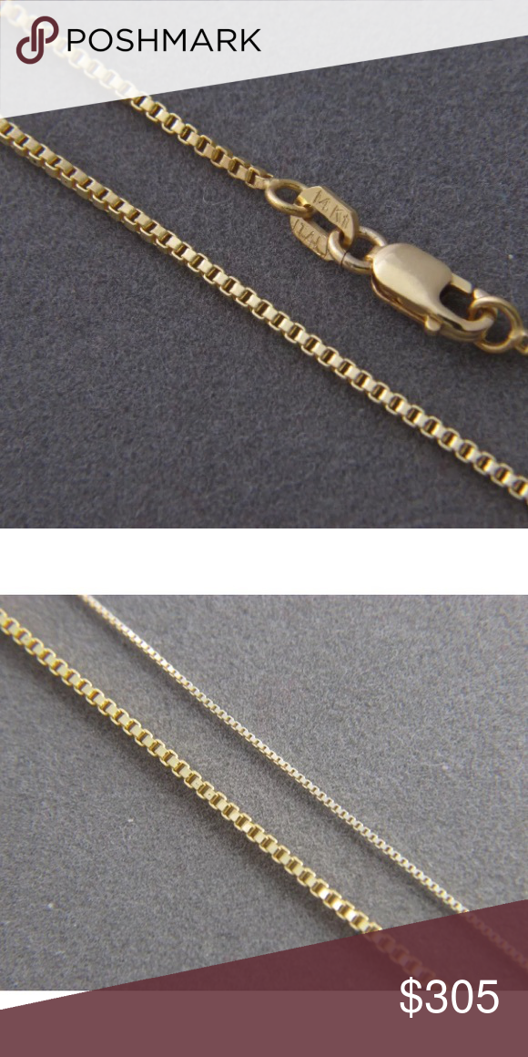 14k Solid Gold Box Chain 22 1 5mm Necklace New Solid Gold 14k Solid Gold Gold Box