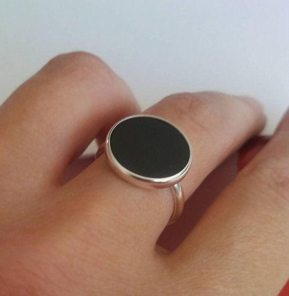 Brass ring Black gemstone ring statement rings couple rings