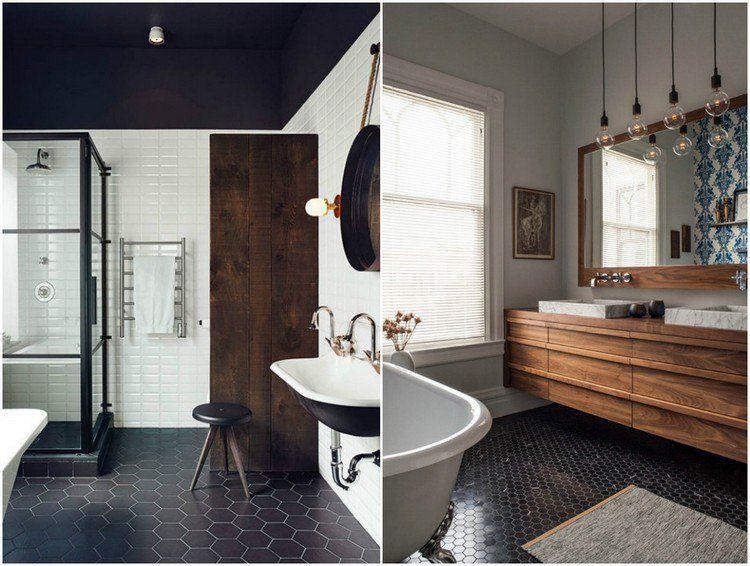 salle de bain noir et bois avec carrelage sol en nid d\u0027abeille