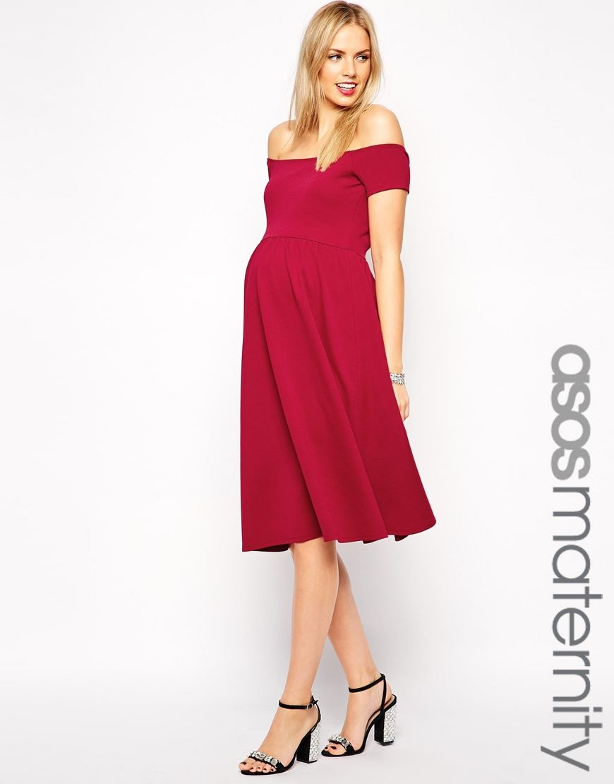 ed8bfee74efba ASOS Maternity Bardot Midi Skater Dress in Texture   style ...