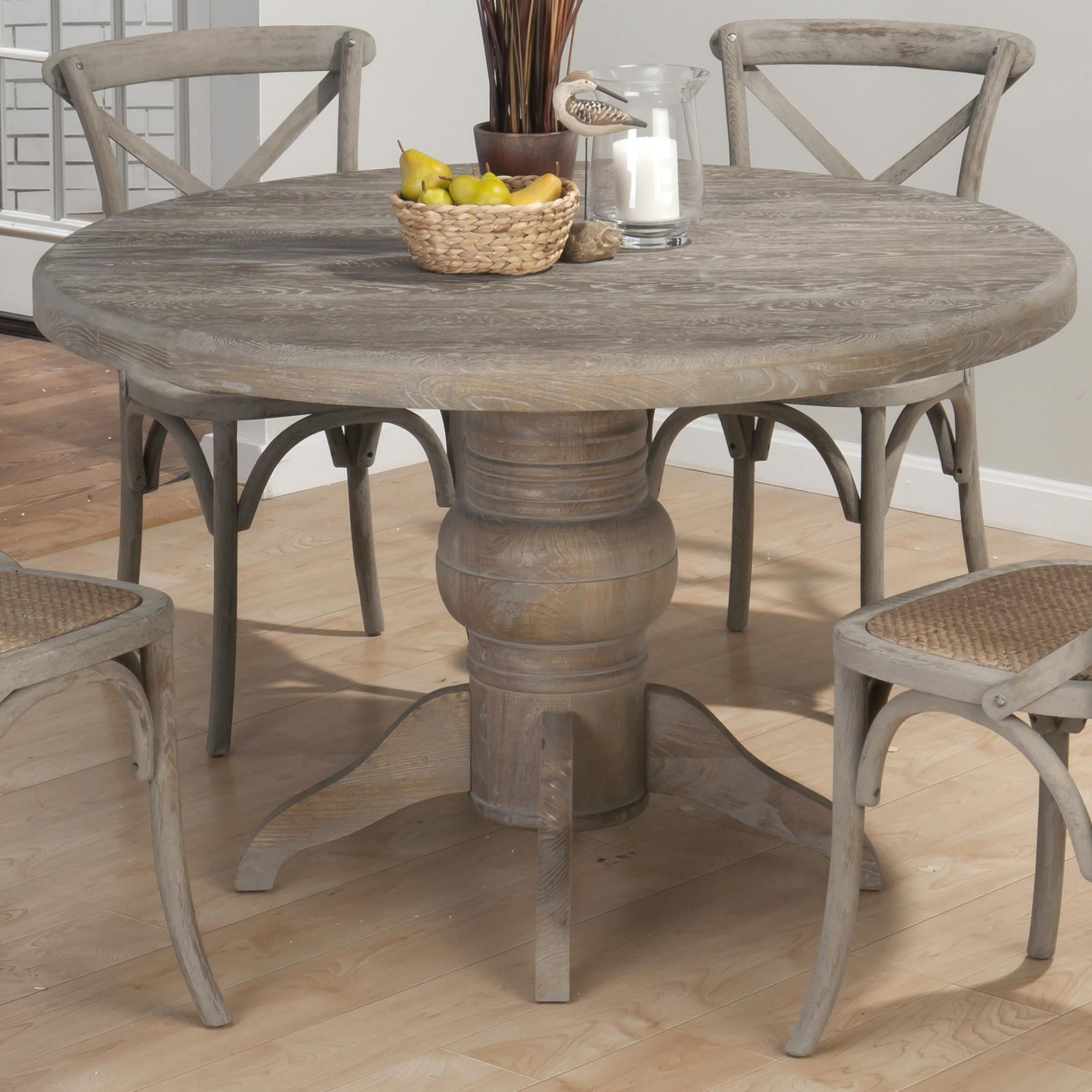 Burnt Grey Round Solid Oak Table By Jofran Round Pedestal Dining
