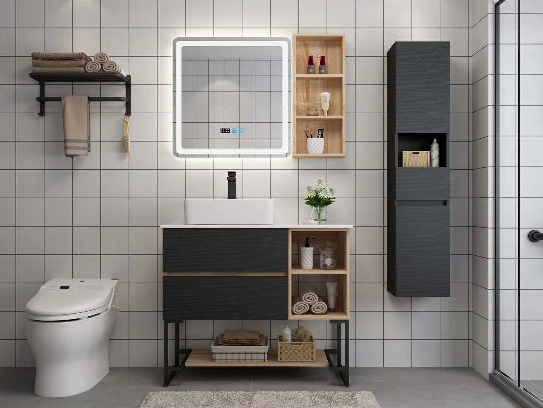 Floor Stand Bathroom Vanity Cabinet With Side Shelf Tall Cabinet Bathroom Cabinets Designs Modern Bathroom Cabinets Bathroom Accessories Design [ jpg ]