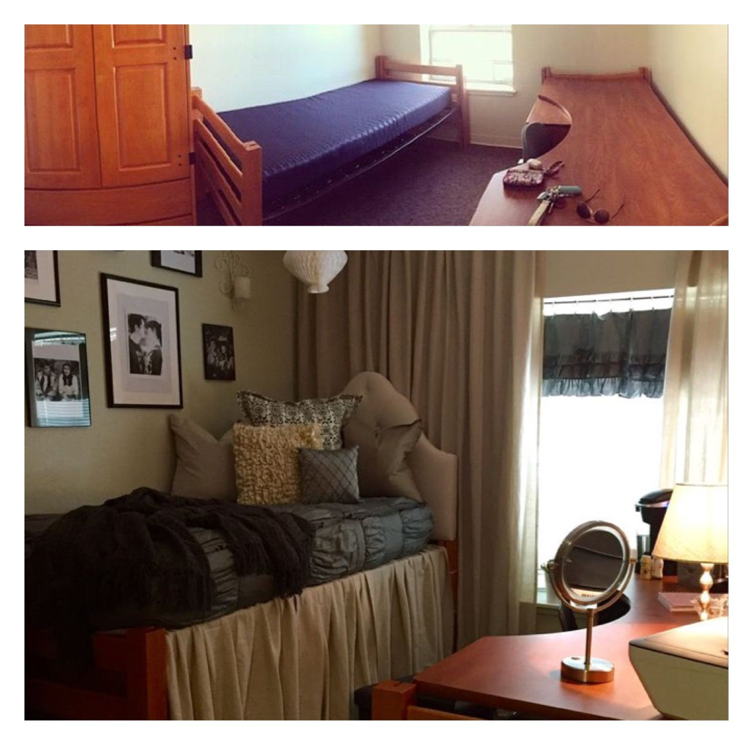 Dorm room furniture layout - Example Before After Of U Of A Quads Bedroom Hg S Dorm Room
