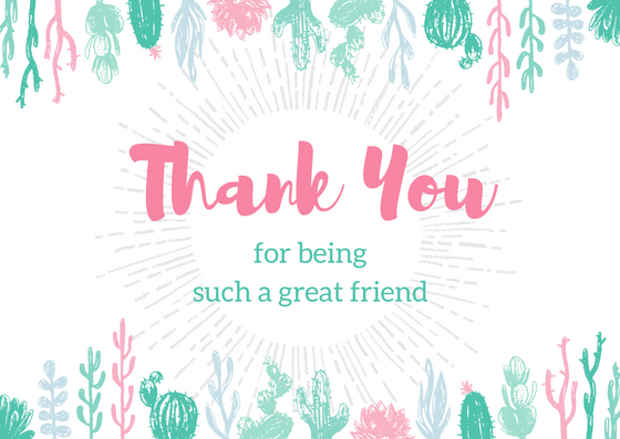 easy diy bff thank you card template with succulent garden border