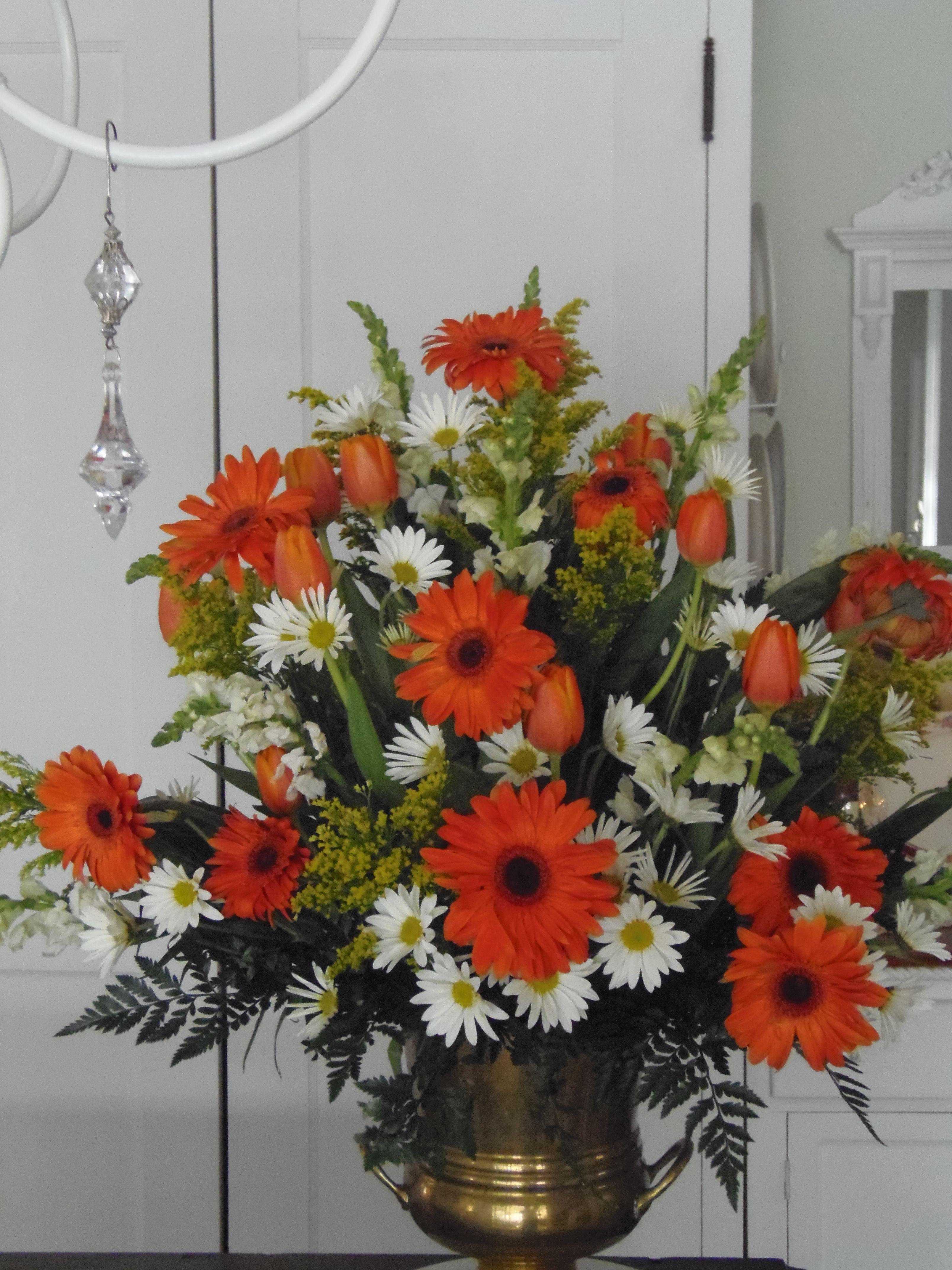 Orange Gerbera Daisy Church Arrangement