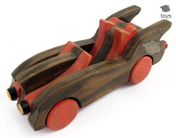 Wood Red Bat Car Natural Toy Handmade Juguetes Naturales