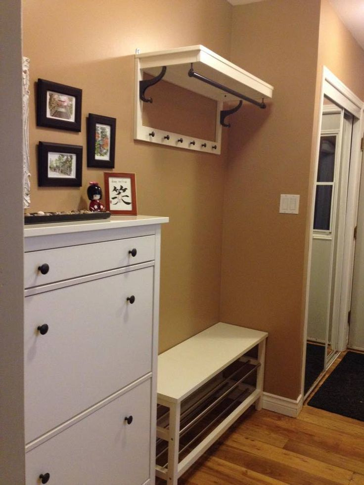 Back Entrance in narrow hallway  IKEA bench coat rack and shoe storage unit #flurgestalten