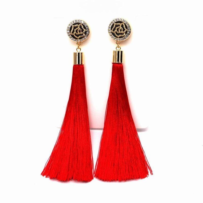 Placcato oro Nuovo nappa lunghi orecchini per le donne bijoux gioielli di moda all'ingrosso rosso nero blu colori