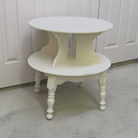 Library Table Between Chairs Shabby Cottage Style 2 Tier Round End Table By Ashtonluluvintage Shabby Cottage Style Side Table Makeover Painted Table