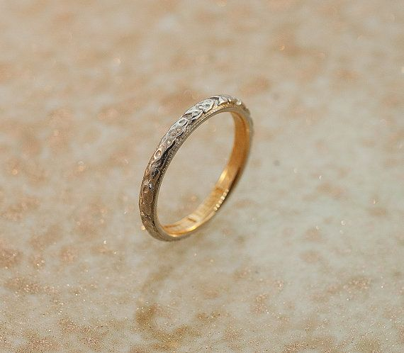 Antique Wedding Band18k White And Yellow Gold By SITFineJewelry 105000