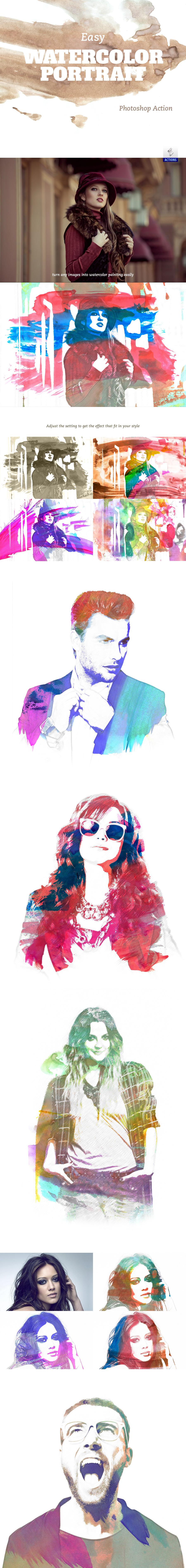Easy Watercolor Portrait Photoshop Action