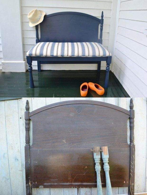 Ingenioso banco hecho con la cabecera de una cama | Cabecera, Bancos ...