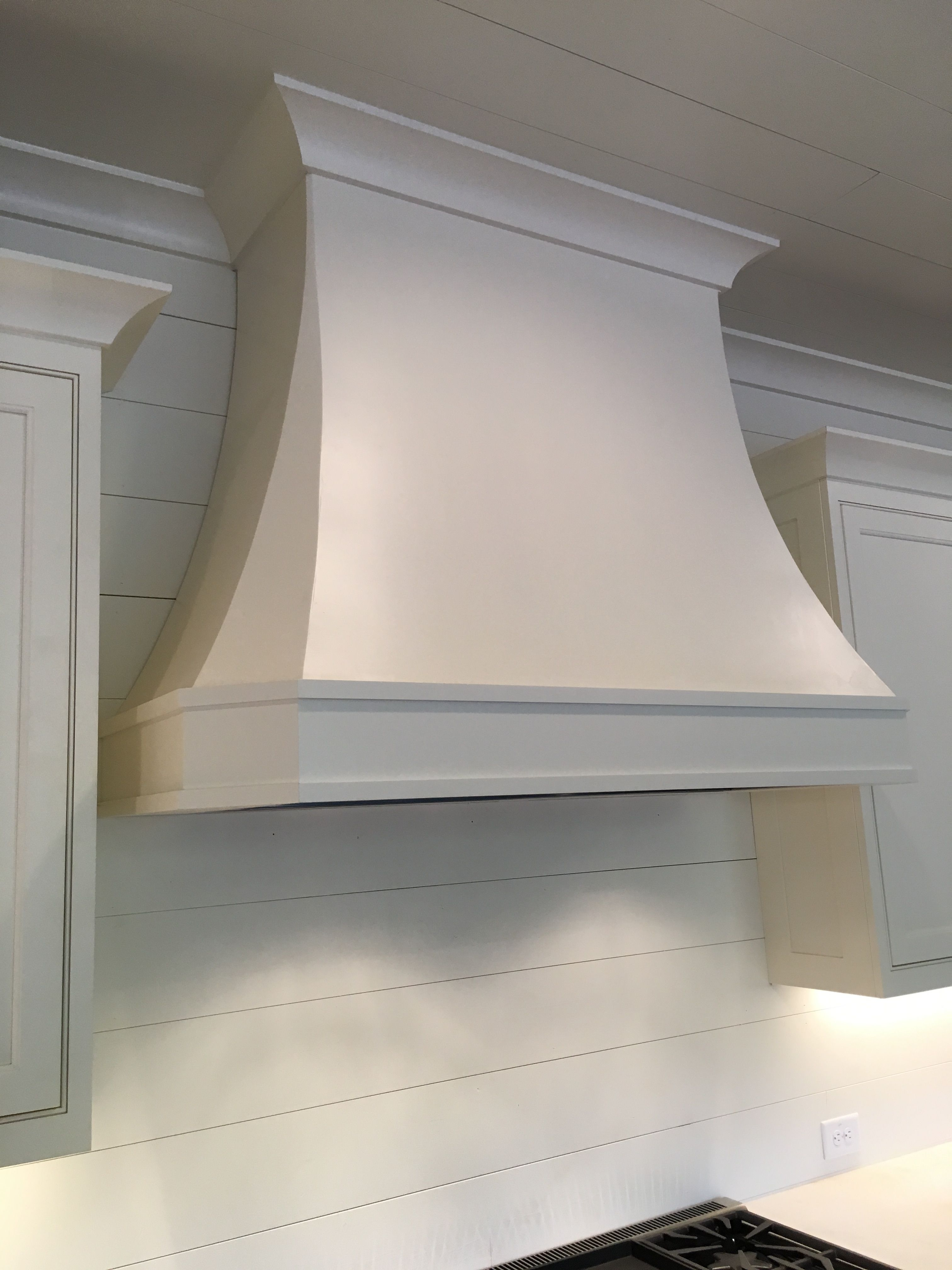 Cabinet vent hood finished in Sherwin Williams Dover White. 48 ...