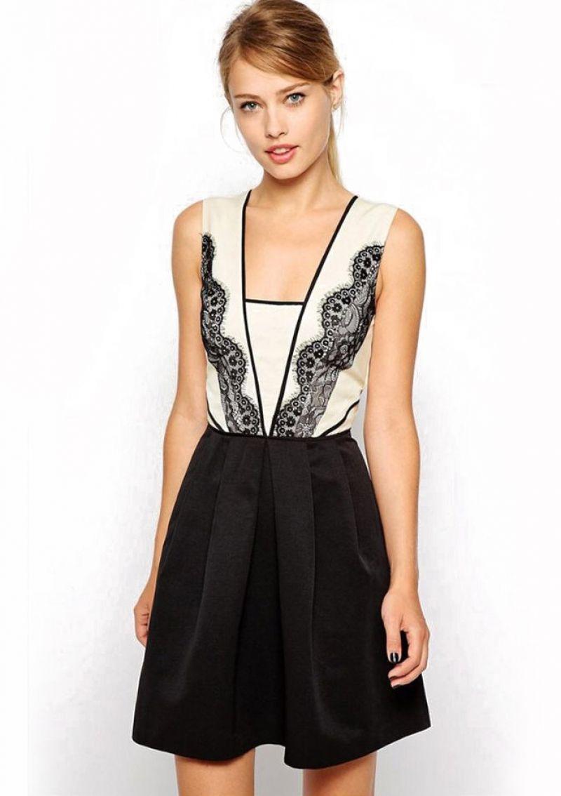 64bea18e0e8 Buy Black White Sleeveless Lace Flare Dress from abaday.com, FREE shipping  Worldwide - Fashion Clothing, Latest Street Fashion At Abaday.com