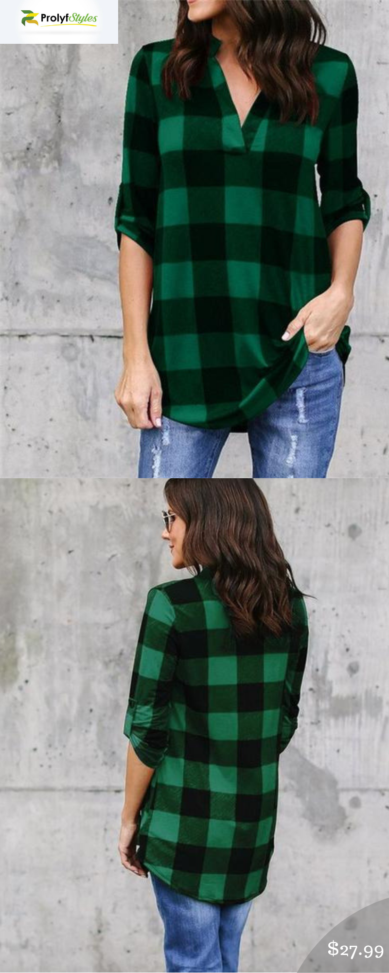 50cb957140080 V Neck Classic Plaid Shirt in 2019