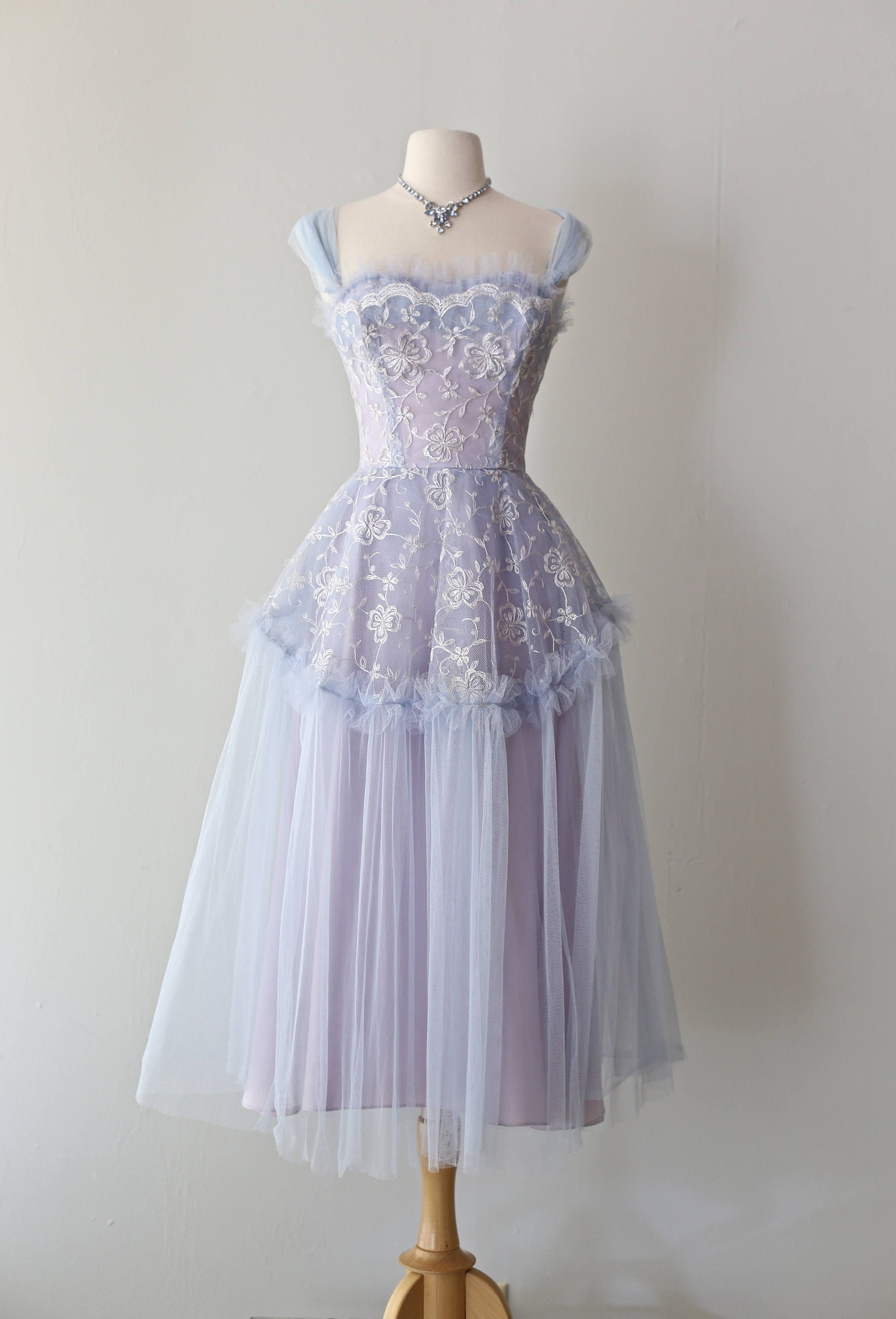d674c68d220 Vintage 1950s Hydrangea HAZE Prom Dress ~ Vintage 50s Blue and Lavender  Embroidered Tulle Prom Dress Waist 25 by xtabayvintage on Etsy
