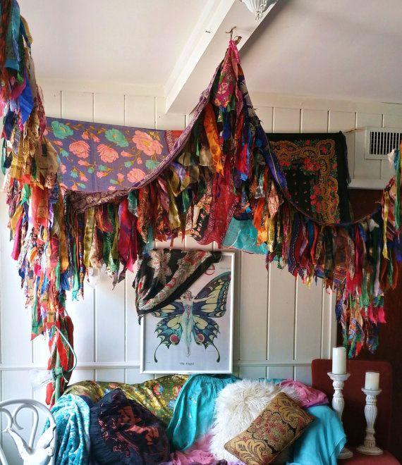 Bohemian Bed Canopy Boho Hippy vintage scarves Gypsy hippie patchwork Fringe & Bohemian Bed Canopy Boho Hippy vintage scarves Gypsy hippie ...