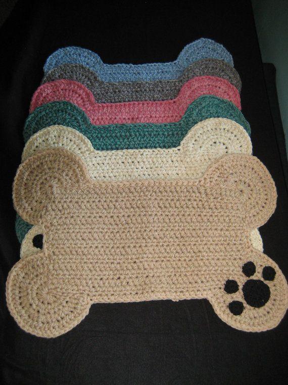 Dog Bone Paw Print Place Mat Large Size Pet Crate Dog Bone Etsy In 2020 Placemats Patterns Paw Crochet Crochet Dog