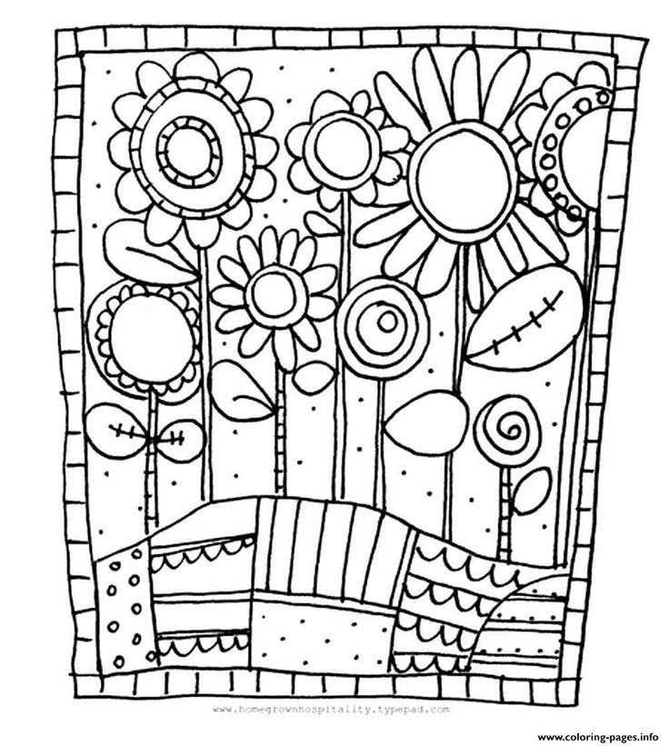 [Coloring Pages] : print adult simple flowers coloring