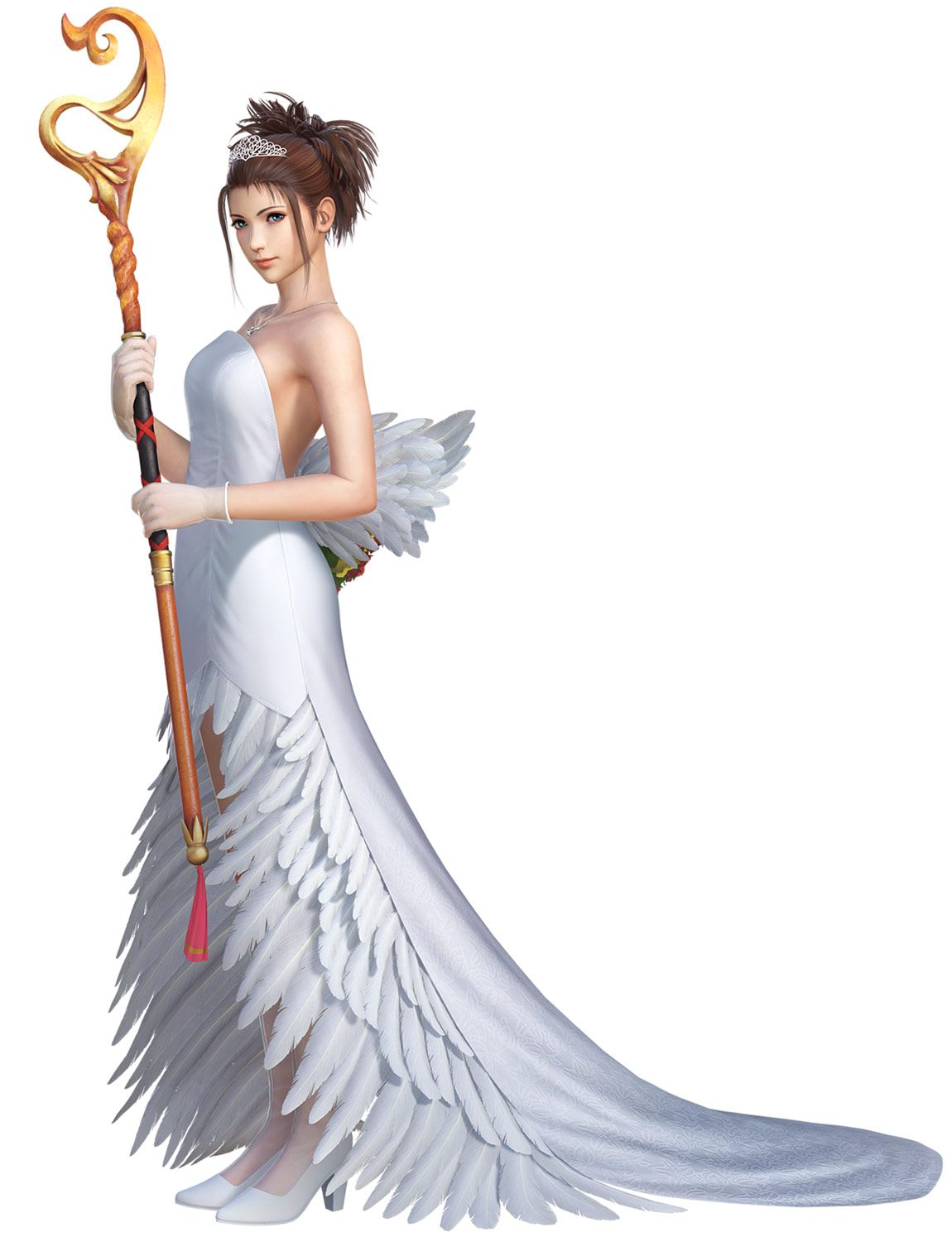 Yuna Wedding Gown I Character Artwork From Dissidia Final Fantasy