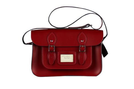 "Vintage Leather Satchel 12.5"" in Pillarbox Red – itison. Loving my new bargain purchase!"