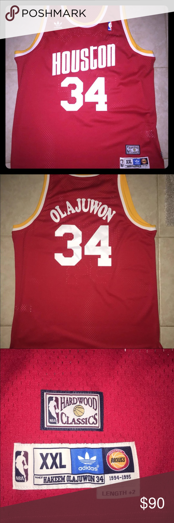 Houston Rockets Hakeem Olajuwon Classic Jersey Hardwood Classics Official Houston  Rockets Hakeem Olajuwon NBA Adidas Jersey SIZE  XXL (Medium Also ... 46a933f7c