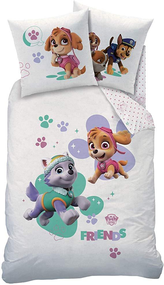 Paw Patrol Biber Flanell Bettwasche Set Fur Madchen Kinderbettwasche 1 Kissenbezug 80x80 1 Bettbezug 135 Flanell Bettwasche Kissenbezuge Kinderbettwasche