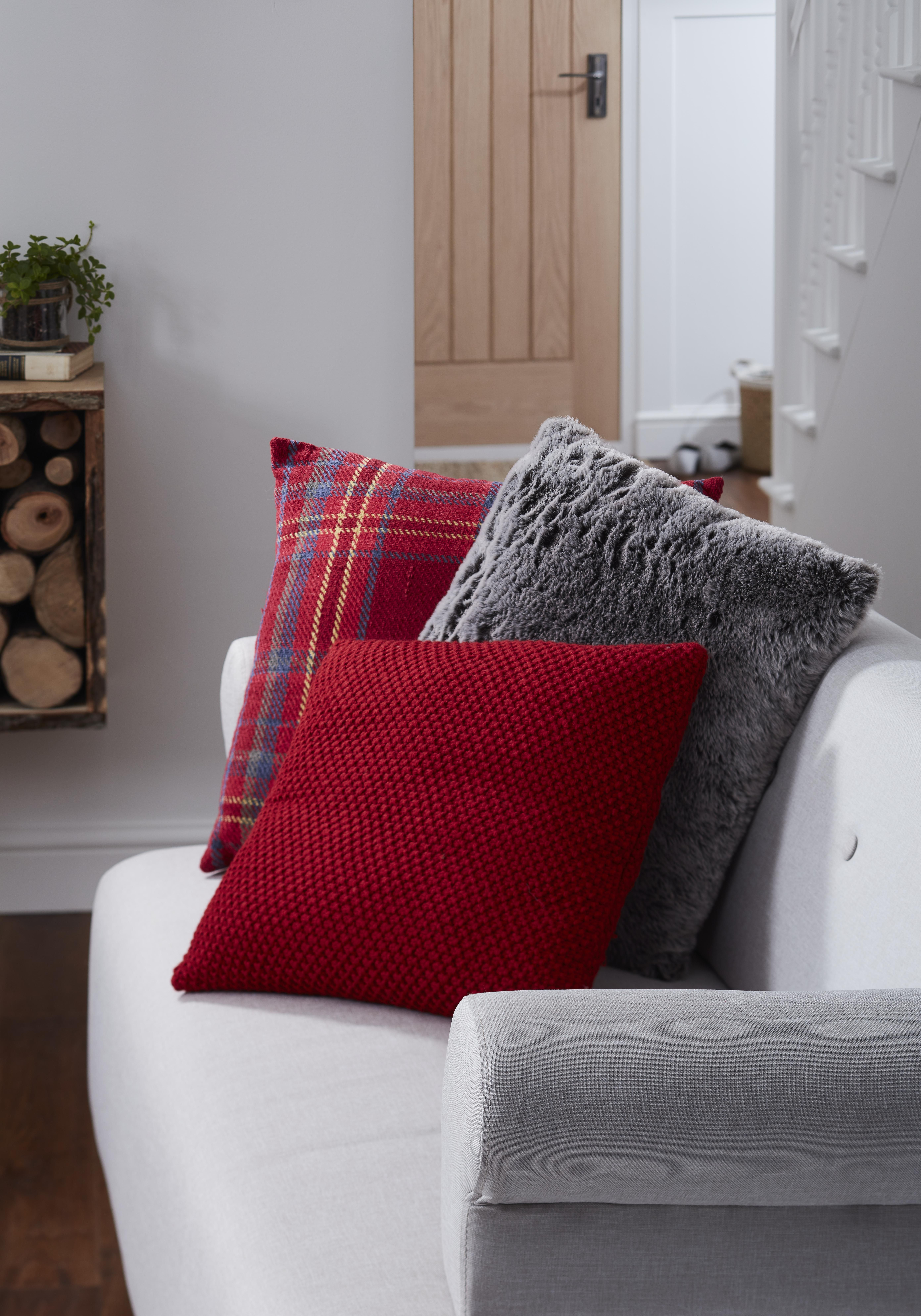 Maxine tartan red cushion cosy hygge and fur pillow