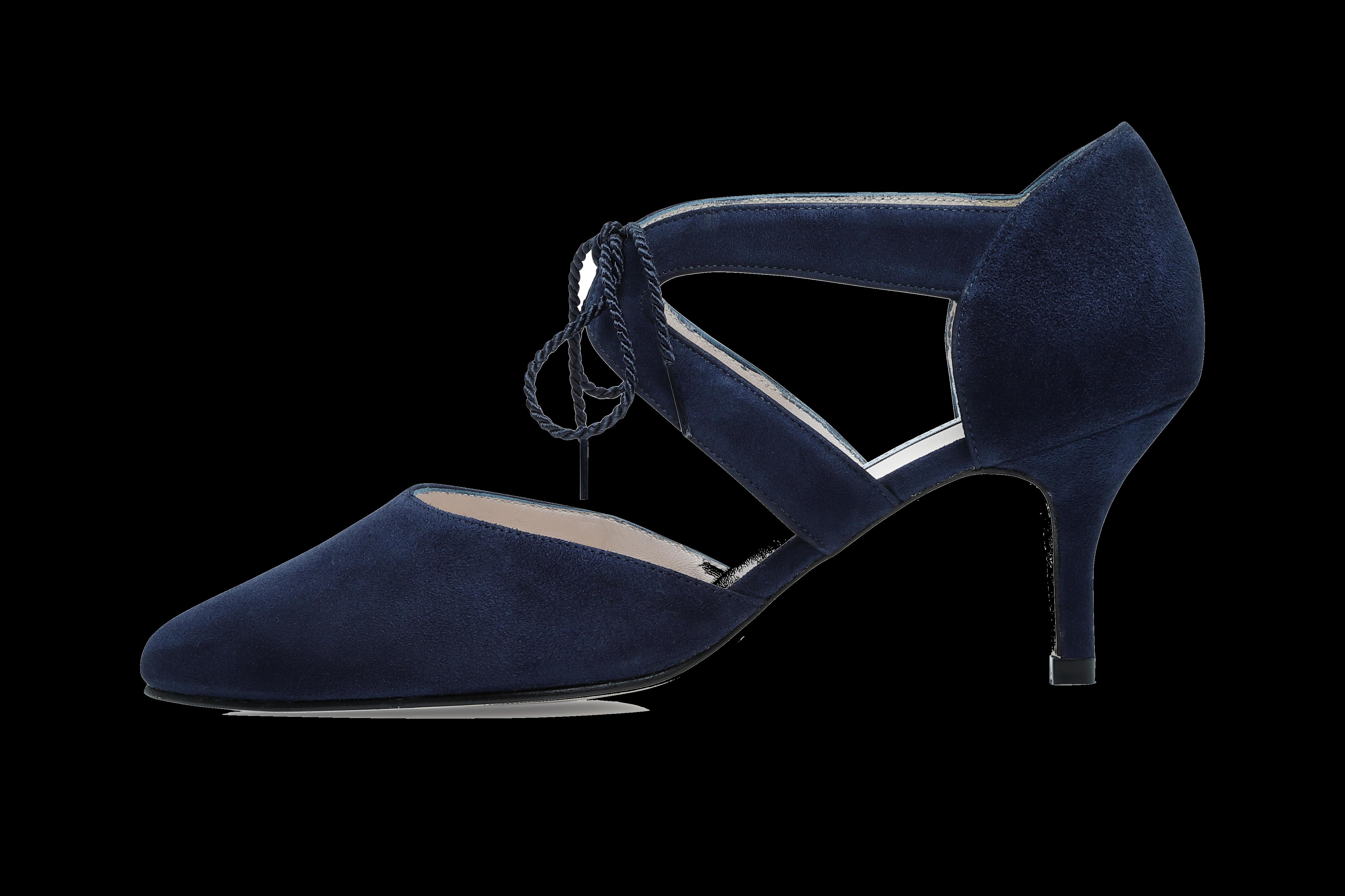 Ava Wide Fit Kitten Heel Shoes - Navy