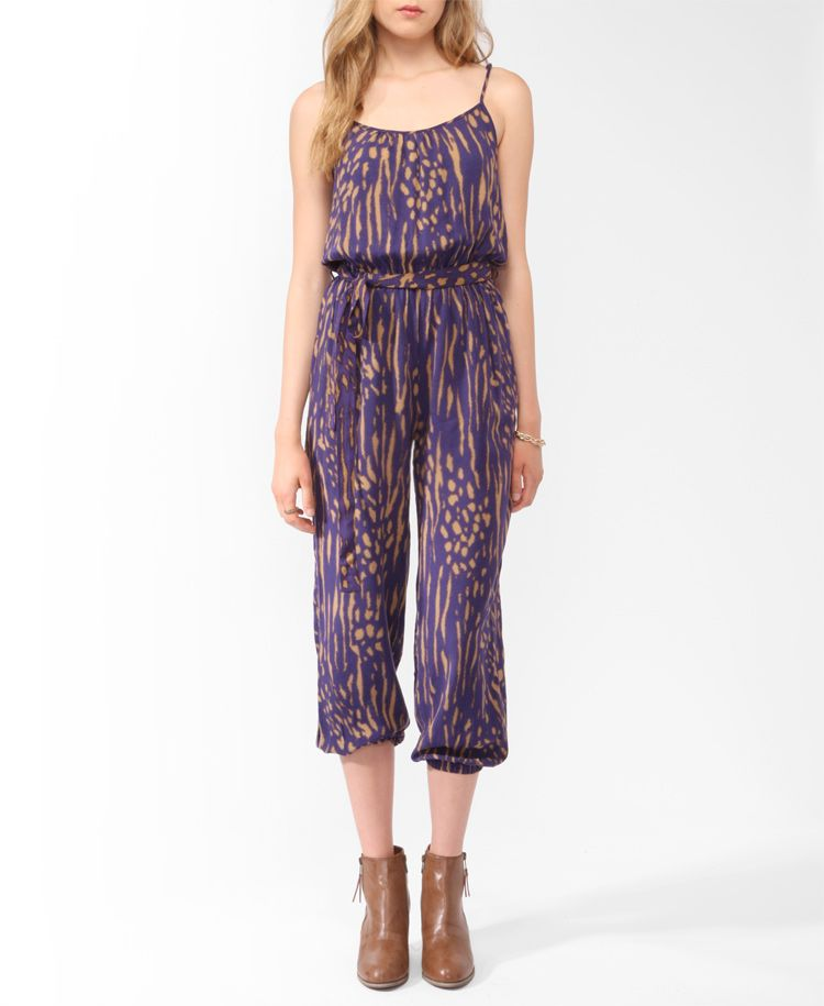 Elasticized Abstract Print Jumpsuit