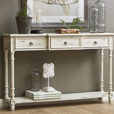 August Grove Preusser 3 Drawer Console Table Color White In 2019