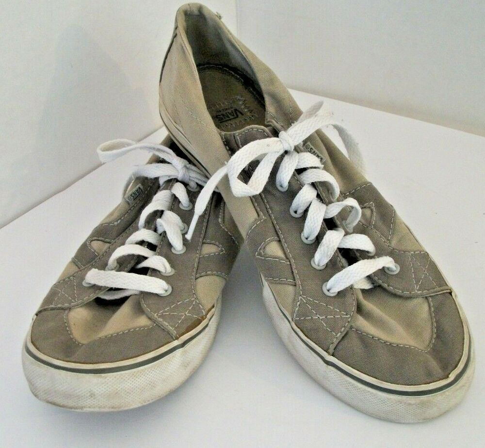 9cee762896 Vans Women s Tory Size 9 Lace Up Khaki Canvas Sneakers Comfort Shoes TB5B   VANS  Comfort