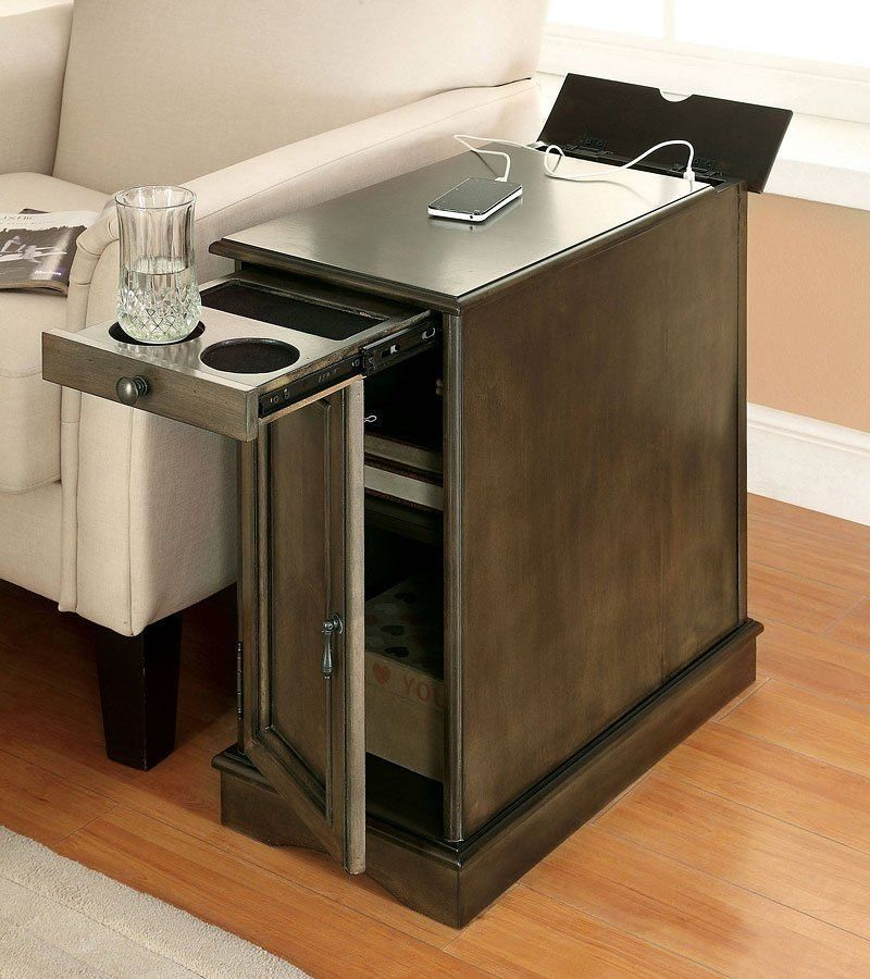Lilith I Side Table W Usb And Power Outlet Gray End Tables With Storage Sofa End Tables Diy End Tables