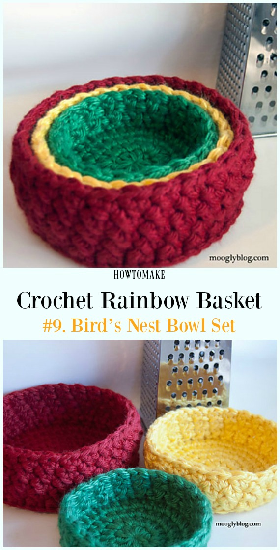 Crochet Rainbow Basket Free Patterns #crochetbowl