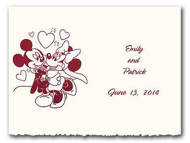 Disney Mickey and Minnie heart wedding invitation