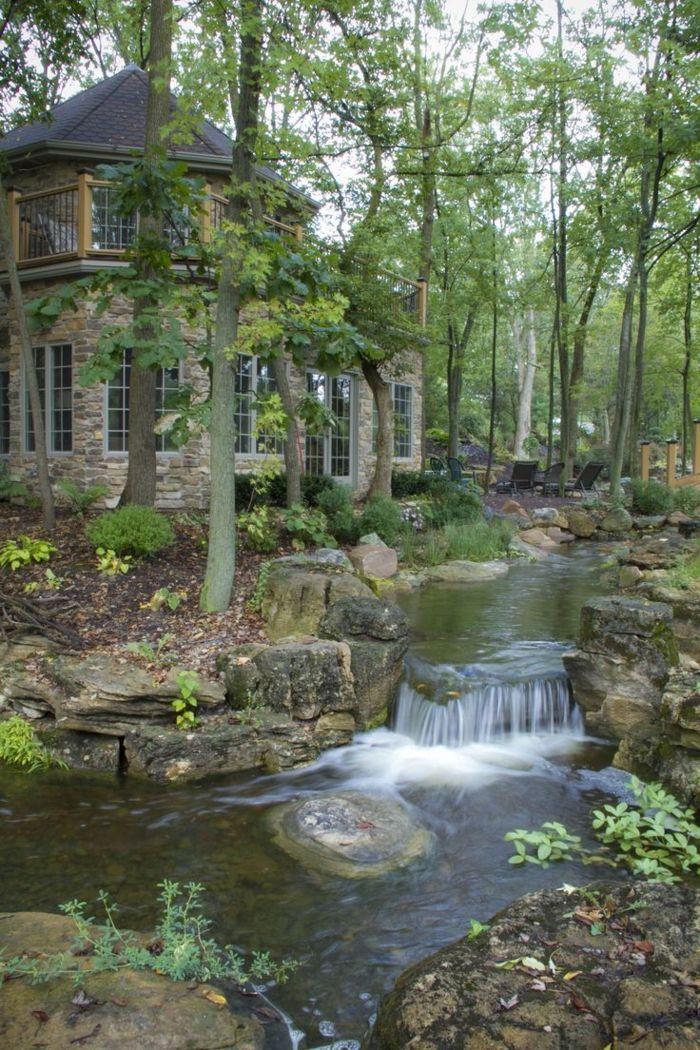 wasserfall im garten traumhaus wald natur exterieur   Garten ...