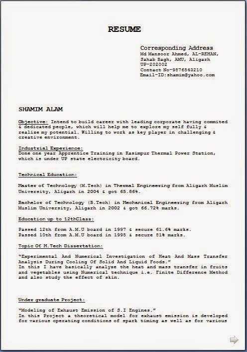 format of a resume Sample Template Example of ExcellentCV   Resume - resume samples word