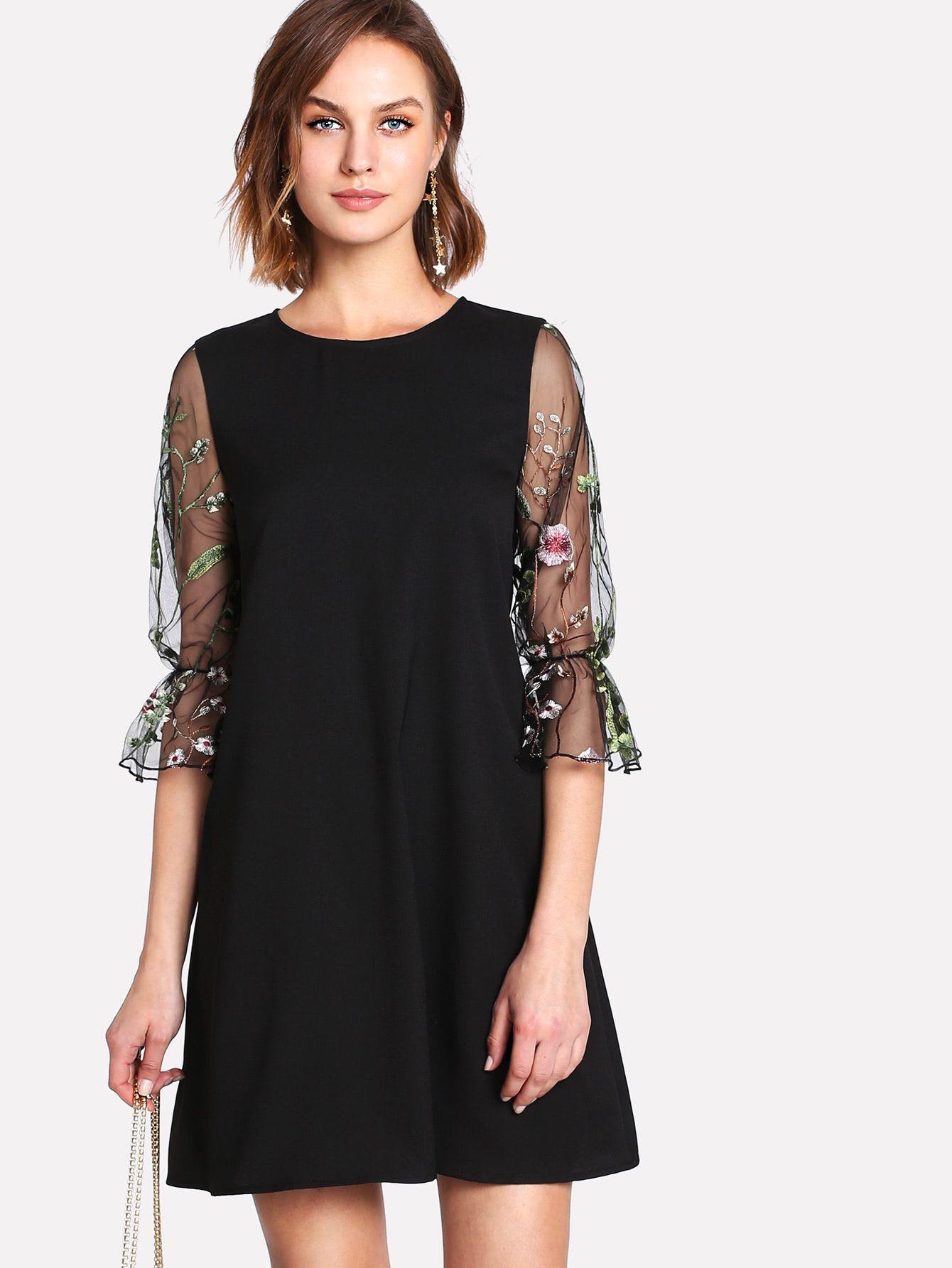 4b0f1d4a7b Shop Botanical Embroidery Mesh Flounce Sleeve Dress online. SheIn ...