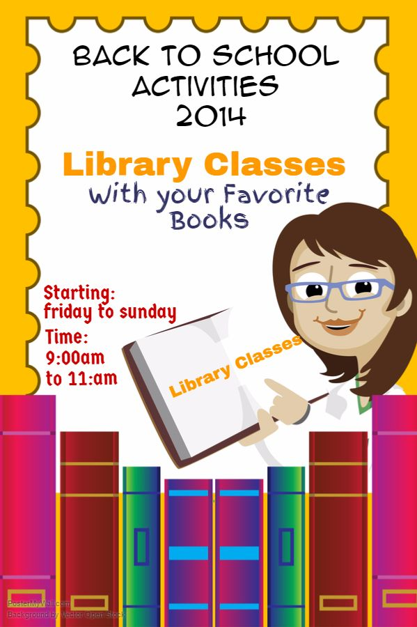 back to school library poster flyer social media graphic design