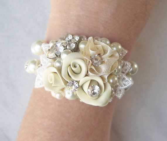 Vintage Style Bridal Cuff Collage Bracelet by TheRedMagnolia, $62.00