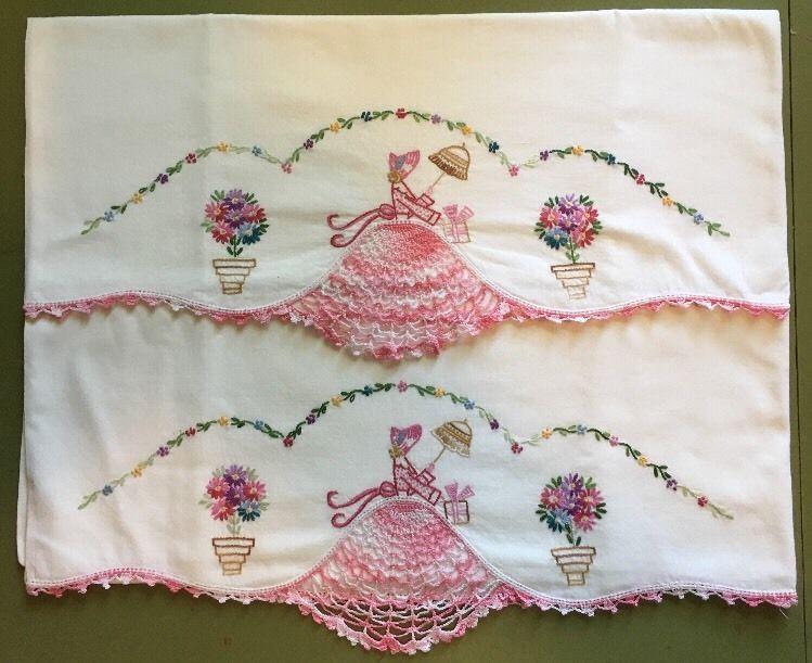 Vintage Pink Southern Belle Crinoline Lady Pillowcases Crochet ...