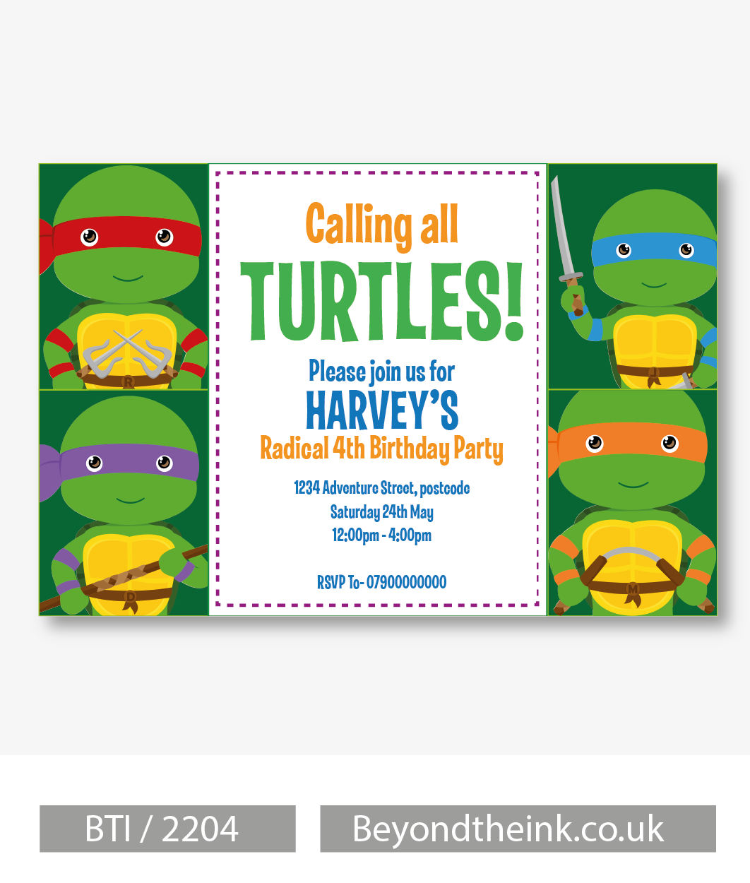 Personalised Teenage Mutant Ninja Turtles Invitations. Printed on ...