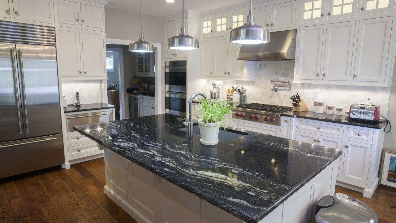 Cosmic Black Black Galaxy Granite Kitchen Countertops Black