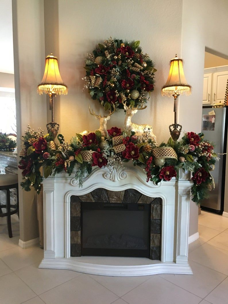 """Photo of Magnificent Wine Red Magnolia Wreath 29 """"and Garland 9 & # 39; Set. 96 LED light decorated with timer. Live like silk decor."""