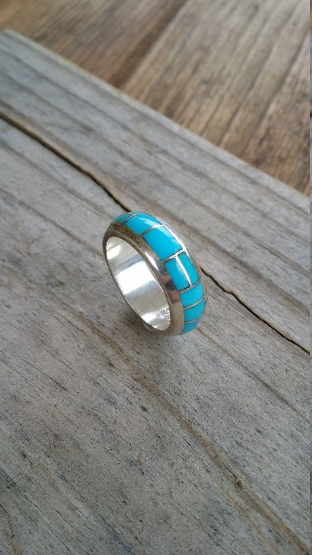Zuni Turquoise Ring Sterling Silver Tsadiase Size 7 75 Navajo Wedding Band GB630