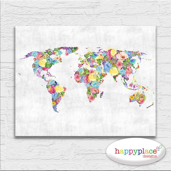 Floral feminine abstract printable world map art by happyplaceart floral feminine abstract printable world map art by happyplaceart sciox Gallery
