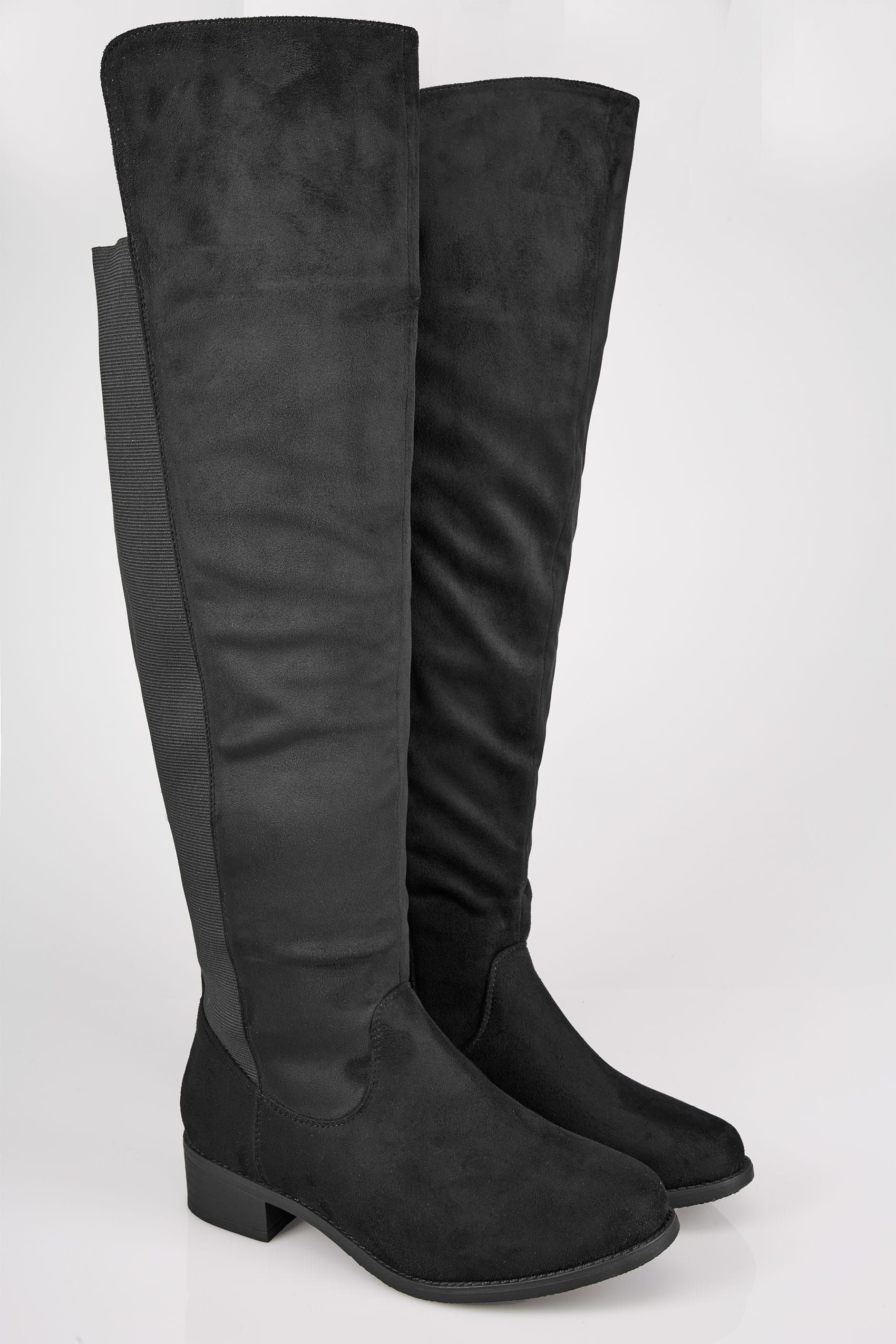 Black Stretch Faux Suede Over The Knee Boots In Extra Wide