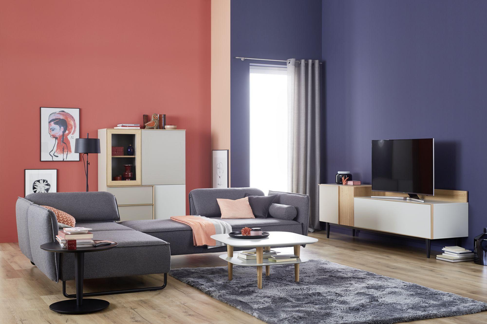 Moderne Wohnzimmereinrichtung schöner wohnen kollektion highboard patchwork loft industrialstyle