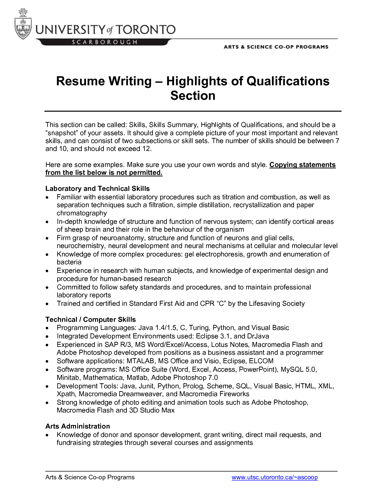 Qualifications Section Of Resume