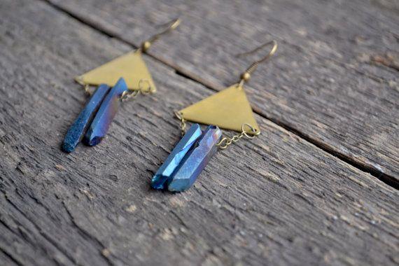 Triangle earrings quartz point titanium by TinyMountainsDesigns